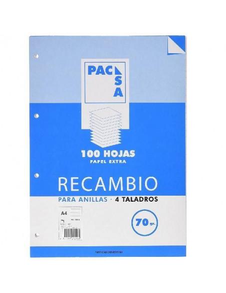 RECAMBIO DE HOJAS A4 CON 4 TALADROS Y RAYADO HORIZONTAL DE 8 MM 100 HOJAS DE RECAMBIOS