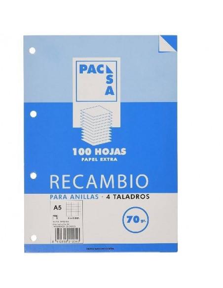 RECAMBIO DE HOJAS A5 CON 4 TALADROS Y RAYADO HORIZONTAL DE 8 MM