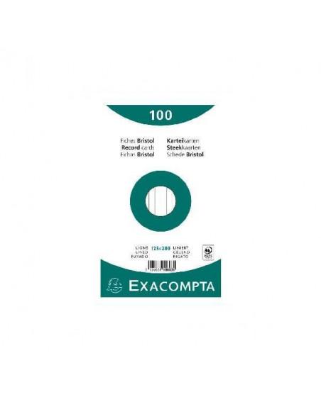 FICHAS BRISTOL PARA FICHEROS CON 100 UNIDADES DE 125X200 MM.