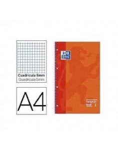 CUADERNO OXFORD A4 CON BORDES DE COLOR NARANJA