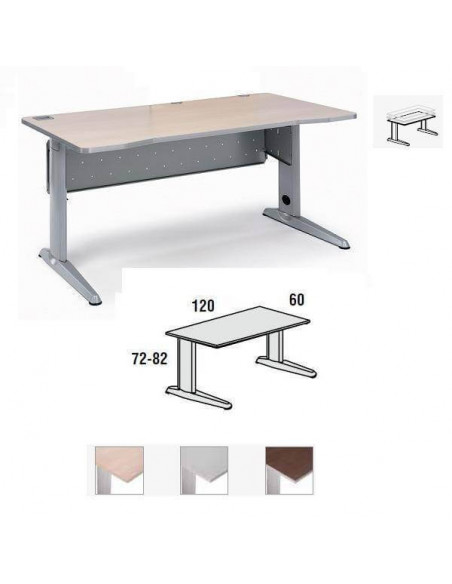 MESA METAL ROCADA 120 X 60 CM. ESTRUCTURA DE ALUMINIO REGULABLE TABLERO COLOR GRIS