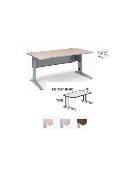 MESA METAL ROCADA 180 X 80 CM. ESTRUCTURA DE ALUMINIO REGULABLE TABLERO COLOR GRIS