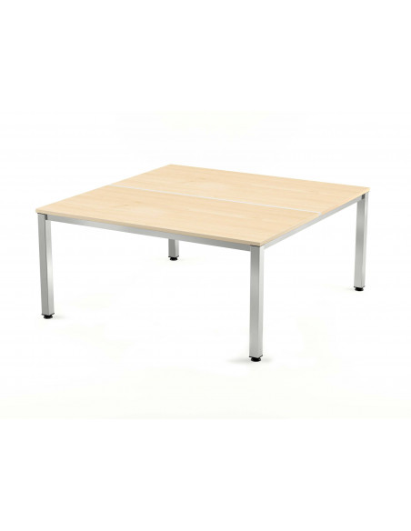 MESA DOBLE EXECUTIVE CROMADA ROCADA 160x163 CM TABLERO EN MELAMINA HAYA