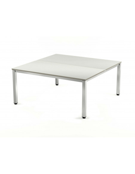 MESA DOBLE EXECUTIVE CROMADA ROCADA 160x163 CM TABLERO EN GRIS