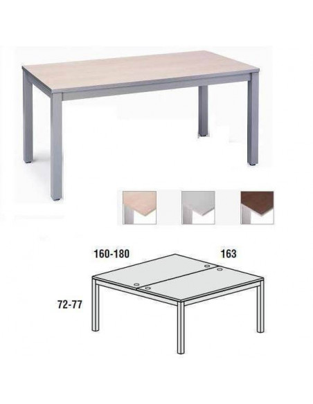 MESA DOBLE EXECUTIVE CROMADA ROCADA 180x163 CM TABLERO EN MELAMINA HAYA