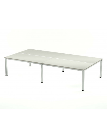 MESA DOBLE EXECUTIVE CROMADA ROCADA 163x320 CM TABLERO EN MELAMINA GRIS