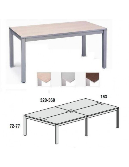 MESA DOBLE EXECUTIVE CROMADA ROCADA 163x360 CM TABLERO EN HAYA
