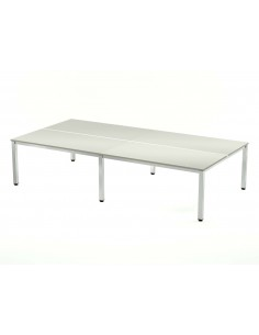 MESA DOBLE EXECUTIVE CROMADA ROCADA 163x360 CM TABLERO EN MELAMINA GRIS