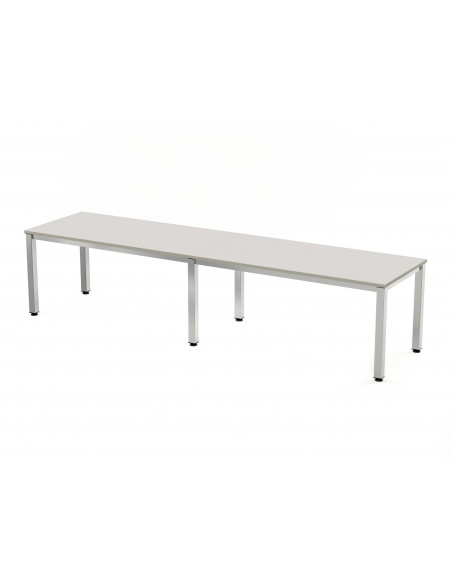 MESA DOBLE EXECUTIVE CROMADA ROCADA 320x80 CM TABLERO EN MELAMINA GRIS