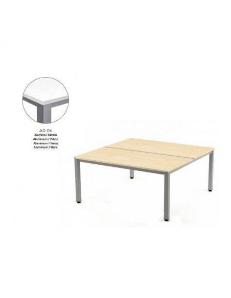 MESA EXECUTIVE DE ROCADA 100X163 CM COLOR ALUMINIO / BLANCO