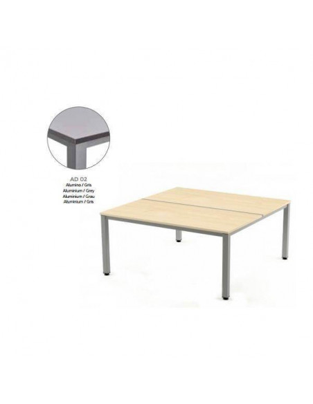 MESA EXECUTIVE DE ROCADA 100X163 CM COLOR ALUMINIO / GRIS