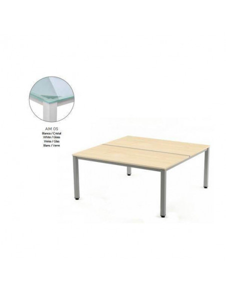 MESA EXECUTIVE DE ROCADA 100X163 CM COLOR BLANCO / CRISTAL