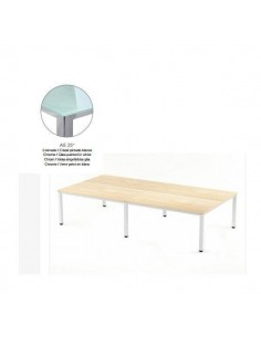 MESA DOBLE EXECUTIVE DE ROCADA 163X320 CM COLOR CROMADO / CRISTAL BLANCO
