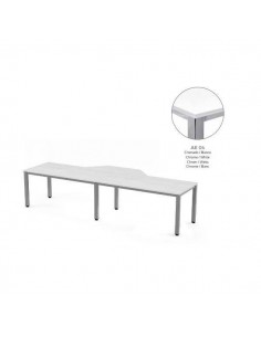 MESA EN FORMA DE L EXECUTIVE DE ROCADA 320x163x240 COLOR CROMADO / BLANCO