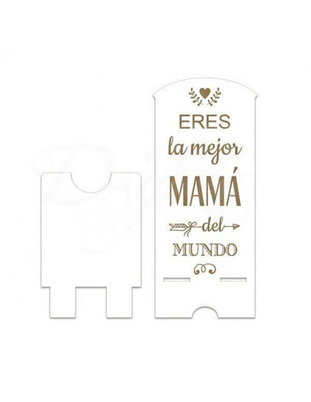 """SOPORTE PARA MOVIL DE MADERA CON FRASE """"ERES LA MEJOR MAMA DEL MUNDO"""" 8.7X20CM"""