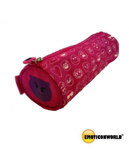 ESTUCHE CON FORMA CILINDRICA DECORADO CON EMOTICONOS COLOR ROSA