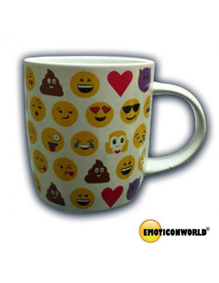 TAZA DE PORCELANA DE COLOR BLANCO CON DIBUJOS DE EMOTICONOS