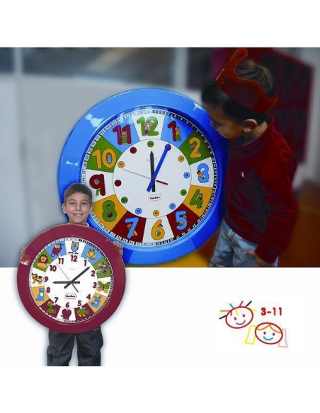 RELOJ ESCOLAR GIGANTE COLOR ROJO ANIMALES