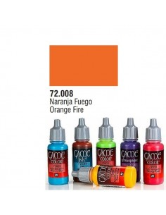 PINTURA ACRILICA DE COLOR NARANJA FUEGO EN BOTE DE 17 ML PINTURA MODELO GAME COLOR