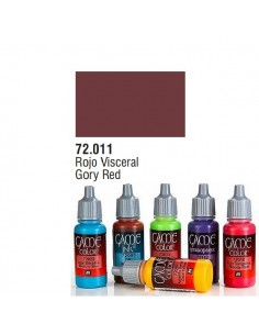 PINTURA ACRILICA DE COLOR ROJO VISCERAL EN BOTE DE 17 ML PINTURA MODELO GAME COLOR