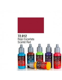 PINTURA ACRILICA DE COLOR ROJO ESCARLATA EN BOTE DE 17 ML PINTURA MODELO GAME COLOR