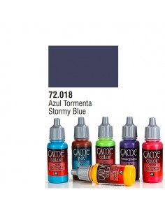 PINTURA ACRILICA DE COLOR AZUL TORMENTA EN BOTE DE 17 ML PINTURA MODELO GAME COLOR