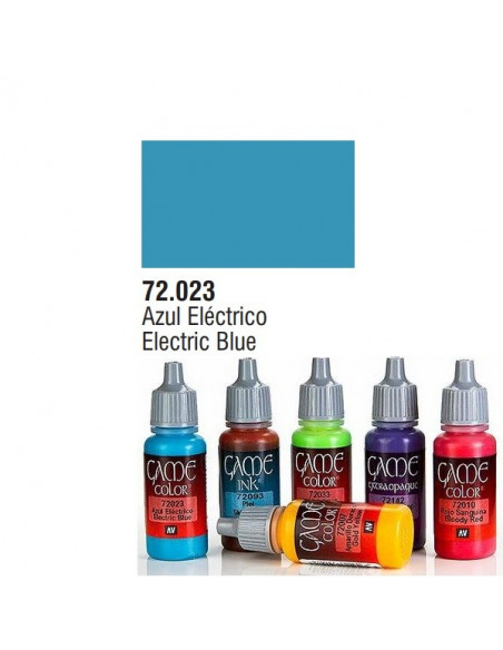 PINTURA ACRILICA DE COLOR AZUL ELÉCTRICO EN BOTE DE 17 ML PINTURA MODELO GAME COLOR