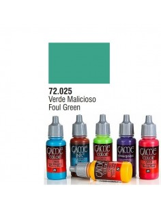 PINTURA ACRILICA DE COLOR VERDE MALICIOSOS EN BOTE DE 17 ML PINTURA MODELO GAME COLOR