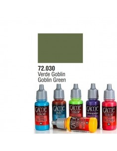 PINTURA ACRILICA DE COLOR VERDE GOBLIN EN BOTE DE 17 ML PINTURA MODELO GAME COLOR