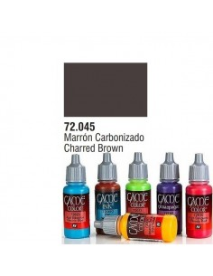 PINTURA ACRILICA DE COLOR MARRON CARBONIZADO EN BOTE DE 17 ML PINTURA MODELO GAME COLOR
