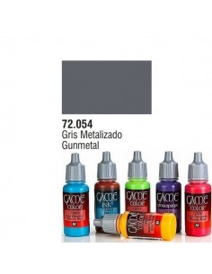 PINTURA ACRILICA DE COLOR GRIS METALIZADO EN BOTE DE 17 ML PINTURA MODELO GAME COLOR