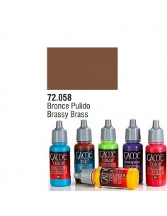 PINTURA ACRILICA DE COLOR BRONCE PULIDO EN BOTE DE 17 ML PINTURA MODELO GAME COLOR