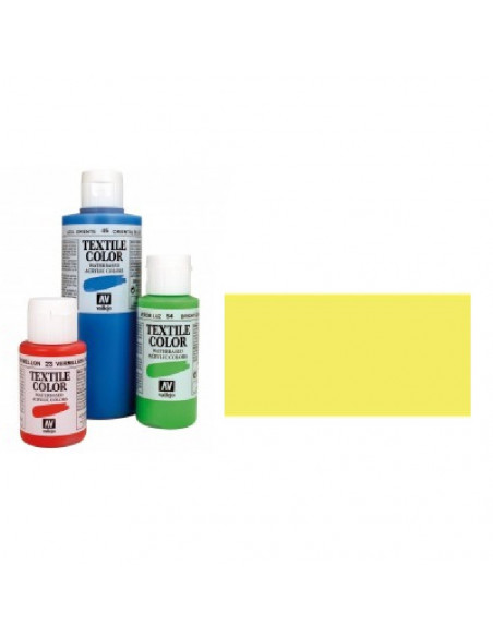 PINTURA DE COLOR AMARILLO FLUORESCENTE MODELO TEXTIL COLOR BOTE DE 60 ML DE LA MARCA VALLEJO