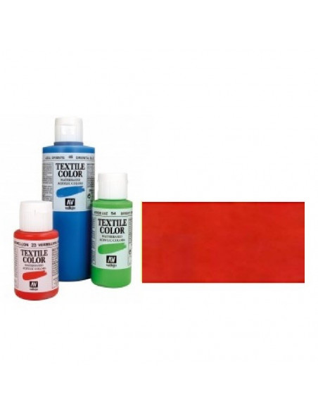 PINTURA DE COLOR ROJO METAL MODELO TEXTIL COLOR BOTE DE 60 ML DE LA MARCA VALLEJO