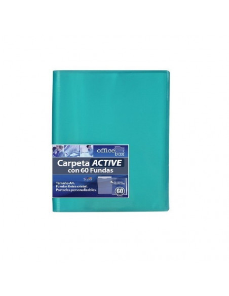 CARPETA CON 60 FUNDAS SUPRA A4 CON PORTADAS PERSONALIZABLES OFFICE BOX COLOR VERDE