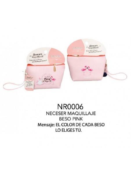 NECESER PARA MAQUILLAJE DE COLOR ROSA Y BLANCO MODELO BESO PINK DE LA MARCA LOVELY STORE 70 CM