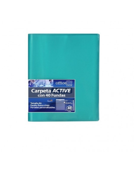 CARPETA ACTIVE A4 SUPRA DE COLOR VERDE CON 40 FUNDAS ULTRA CRISTAL