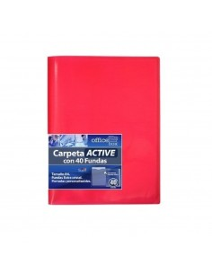 CARPETA ACTIVE A4 SUPRA DE COLOR ROJO CON 40 FUNDAS ULTRA CRISTAL