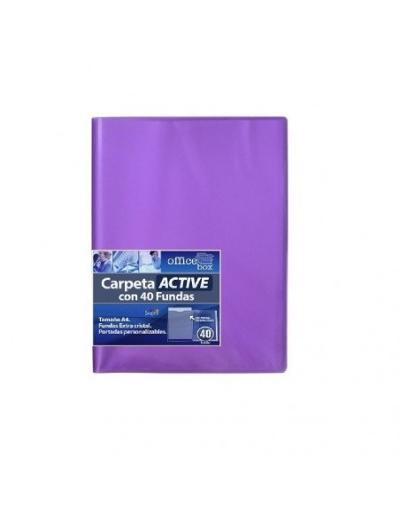 CARPETA ACTIVE A4 SUPRA DE COLOR MORADO CON 40 FUNDAS ULTRA CRISTAL