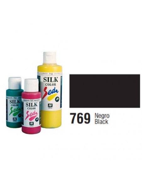 SILK COLOR BASIC COLOR NEGRO BOTE DE 60 ML CON TAPON BISAGRA DE LA MARCA VALLEJO