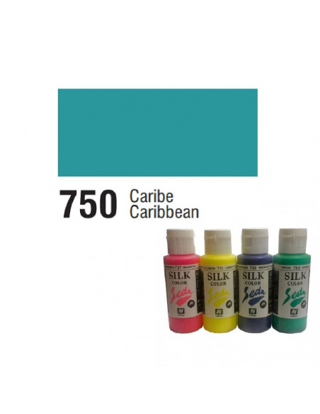 SILK COLOR BASIC COLOR CARIBE BOTE DE 60 ML CON TAPON BISAGRA DE LA MARCA VALLEJO
