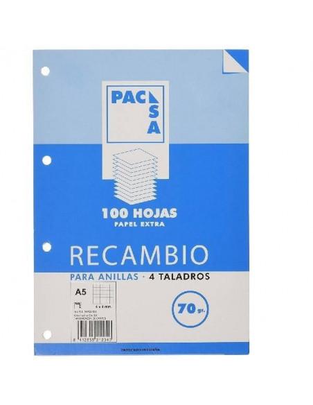 RECAMBIO DE HOJAS TAMAÑO A5 CON 4 TALADROS PACSA RAYADO DE 4X4 MM