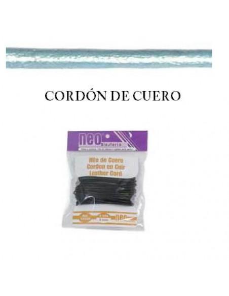 CORDON DE CUERO METALICO DE NEO BISUTERIA 2MM EN ROLLO DE 5 METROS EN COLOR VERDE/AZUL