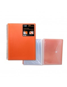 CARPETA PP OFFICE CLUB DE 20 FUNDAS PORTADOCUMENTOS DE COLOR NARANJA CON CARPETA DE POESSA