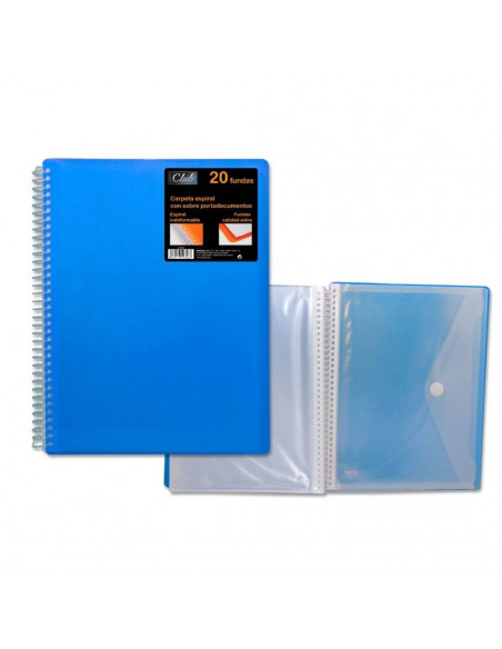 CARPETA PP OFFICE CLUB DE 20 FUNDAS PORTADOCUMENTOS DE COLOR AZUL CON CARPETA DE POESSA
