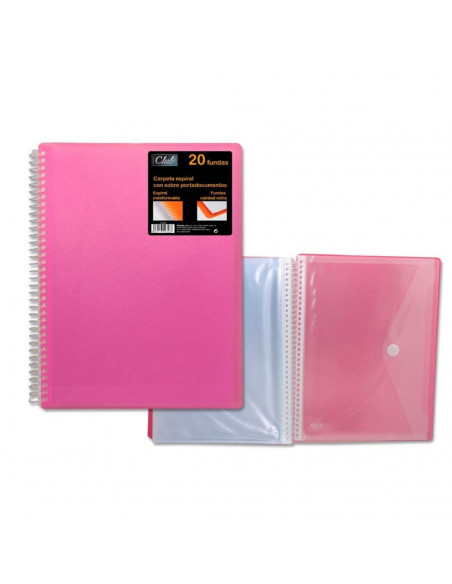 CARPETA PP OFFICE CLUB DE 20 FUNDAS PORTADOCUMENTOS DE COLOR ROSA CON CARPETA DE POESSA
