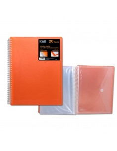 CARPETA PP OFFICE CLUB DE 40 FUNDAS PORTADOCUMENTOS DE COLOR NARANJA CON CARPETA DE POESSA