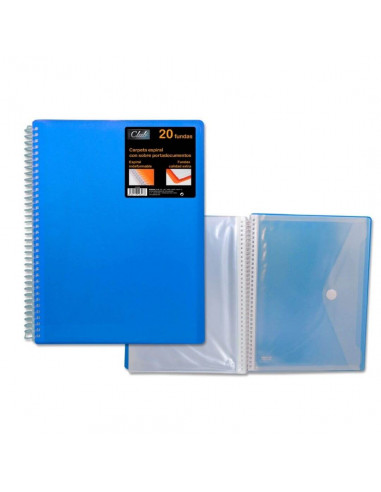 CARPETA PP OFFICE CLUB DE 40 FUNDAS PORTADOCUMENTOS DE COLOR AZUL CON CARPETA DE POESSA