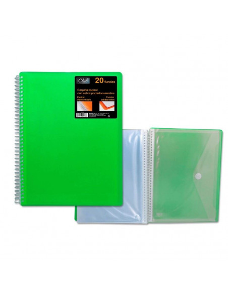 CARPETA PP OFFICE CLUB DE 40 FUNDAS PORTADOCUMENTOS DE COLOR VERDE CON CARPETA DE POESSA
