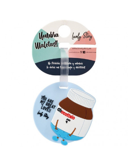IDENTIFICADOR DE MALETAS DE LA MARCA LOVELY STORY DISEÑO CHOCOTTELO Y MENSAJE YOU ARE MY GREAT LOVE